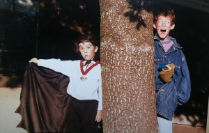 "Ben and Kyle Sefton, ages 6 and 10. Ben is obviously Count Dracula, and Kyle is a kid who has an alien pop out of his ""stomach"" and surprise his friends. (He made the sock puppet.)"